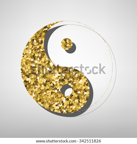 Yin yang symbol of harmony and balance illustration. Golden icon - stock photo
