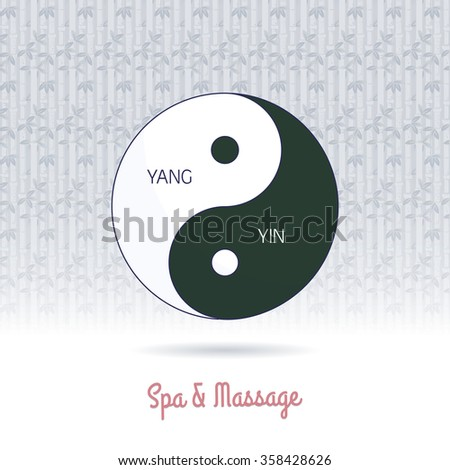 Yin yang symbol of harmony and balance. Line, flat design. Branding identity element on grange background. Concept for beauty salon, massage, cosmetic and spa. Raster version. - stock photo