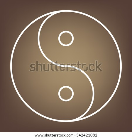 Yin yang symbol of harmony and balance. line icon - stock photo