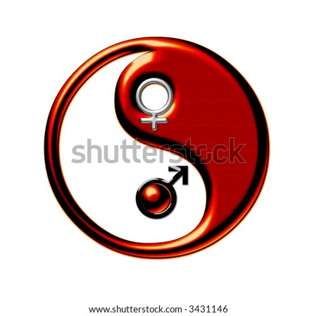 Yin-Yang, symbol of harmony between male and female beginnings, isolated on white - stock photo