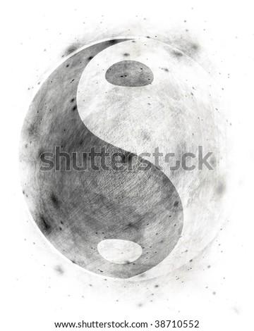 Yin yang symbol on a grunge white background - stock photo