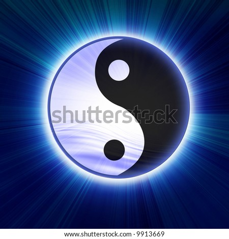 Yin yang symbol on a soft blue background - stock photo