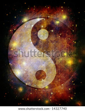 Yin yang symbol on grunge background - stock photo