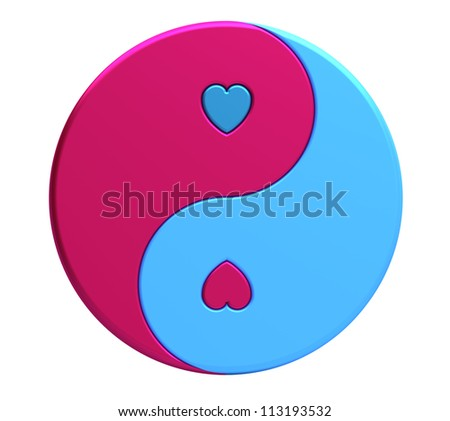 Yin-yang symbol with hearts isolated on white, 3d render - stock photo