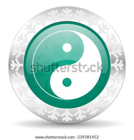ying yang green icon, christmas button