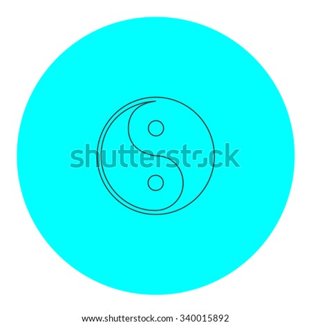 Ying-yang icon of harmony and balance. Black outline flat symbol on blue circle. Simple illustration pictograh on white background - stock photo