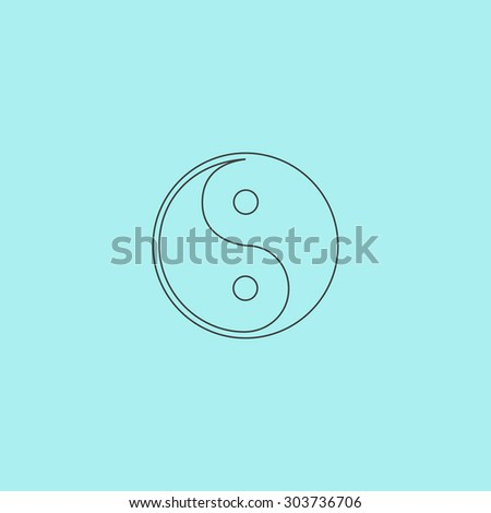 Ying-yang icon of harmony and balance. Flat web sign isolated on  background. Collection modern trend concept design style  illustration symbol - stock photo