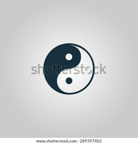 Ying-yang icon of harmony and balance. Flat web sign isolated on grey background. Collection modern trend concept design style illustration symbol - stock photo