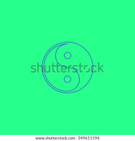 Ying-yang icon of harmony and balance. Simple outline illustration icon on green background