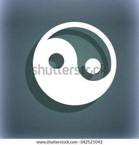 Ying yang icon symbol on the blue-green abstract background with shadow and space for your text. illustration - stock photo