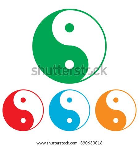 Ying yang symbol of harmony and balance. Colorfull set isolated on white background - stock photo