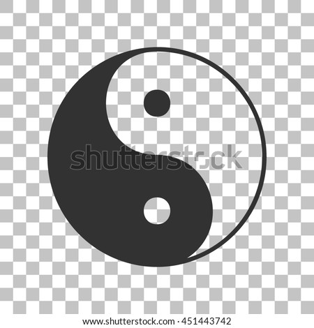 Ying yang symbol of harmony and balance. Dark gray icon on transparent background. - stock photo