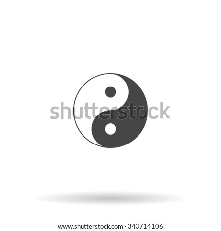 Ying yang symbol of harmony and balance. Flat icon on grey background with shadow - stock photo
