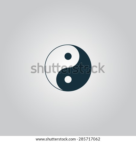 Ying yang symbol of harmony and balance. Flat web icon or sign isolated on grey background. Collection modern trend concept design style illustration pictogram - stock photo