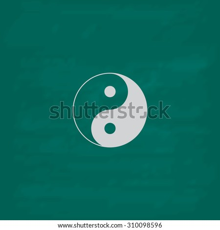 Ying yang symbol of harmony and balance.  Icon. Imitation draw with white chalk on green chalkboard. Flat Pictogram and School board background. Illustration symbol - stock photo
