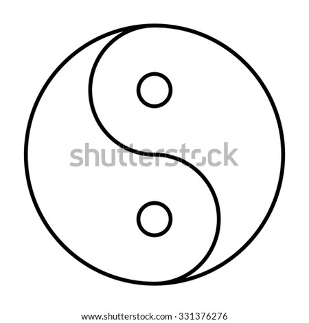 Ying yang symbol of harmony and balance. line icon - stock photo