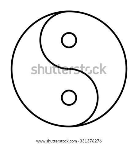 Ying yang symbol of harmony and balance. line icon - stock photo