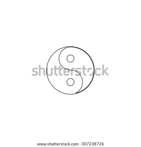 Ying yang symbol of harmony and balance. Outline black simple symbol - stock photo