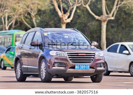 YIWU-CHINA-JAN. 26, 2016. Haval H8 SUV. It has been re-launched on Chinese market. Price starts at 201.800 yuan. After introduction in 2013 it was cancelled early 2014 after reports of shortcomings.  - stock photo