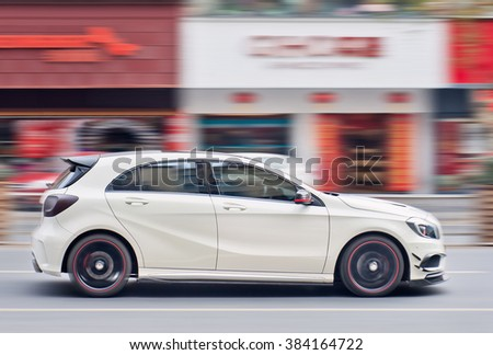 YIWU-CHINA-JAN. 19, 2016. Mercedes-Benz A-Class AMG. Mercedes-Benz is on its way to overtake BMW as the world's top-selling luxury automaker. Mercedes sales soared 33% last year to 373,459 vehicles. - stock photo