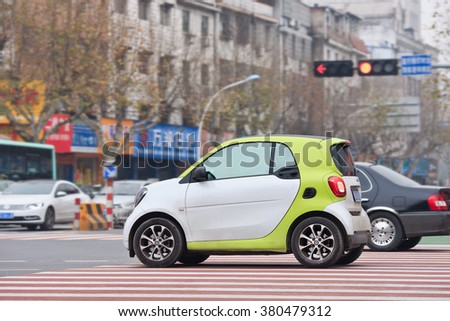 YIWU-CHINA-JAN. 8, 2016. Smart on the street. China could overtake Germany and Italy to become biggest market for Daimler AG's car brand Smart in few years according chief executive Annette Winkler.