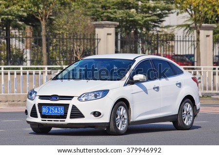 YIWU-CHINA-JANUARY 26, 2016. Ford Focus. Ford ended 2015 on a high note in China, reporting a 27% increase in December sales, as automobile demand continues to rebound in world's biggest car market. - stock photo