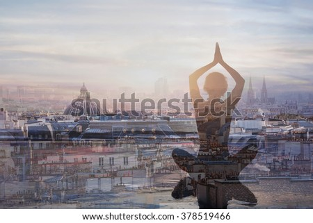 yoga and meditation in big city, double exposure, mindfulness concept, harmony in life - stock photo