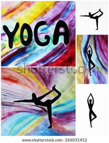 Yoga backgrounds or Creative backgrounds, Yoga studio design, Yoga classes, Yoga poses - stock photo
