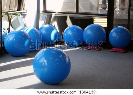 yoga balls at the gym - stock photo