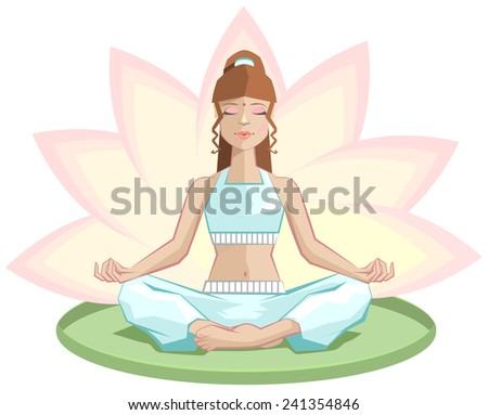 Yoga. Beautiful girl meditating in lotus position - stock photo