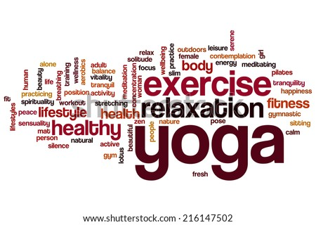 Yoga concept word cloud background - stock photo