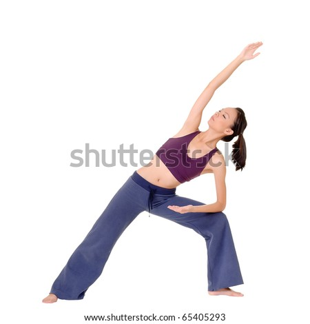 Yoga exercise by Asian beauty isolated over white. - stock photo