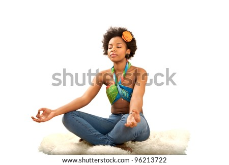 Yoga exercise fresh beautiful ethnic woman with lot of copy space - stock photo