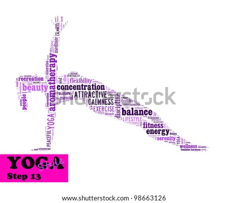 Yoga,fitness & health info text/word cloud/word collage composed in the shape of a girl doing yoga meditation pose (Yoga style step 13) - stock photo