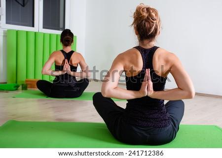 yoga hand exercise - stock photo