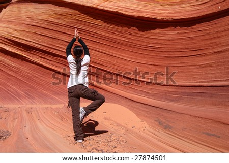 Yoga in the Wave - stock photo