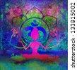 Yoga lotus pose - abstract background - stock photo