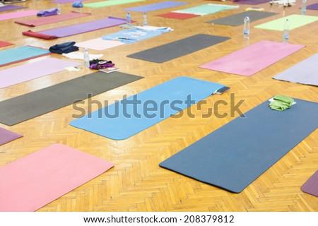 yoga mats in studio - stock photo