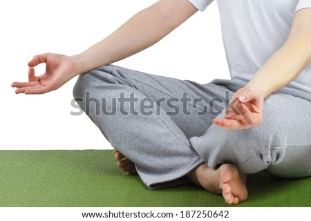 Yoga meditation pose. Young man practicing yoga
