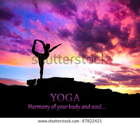 Yoga Natarajasana dancer balancing pose by man silhouette with purple dramatic sunset sky background. Free space for text and can be used as template for web-site - stock photo