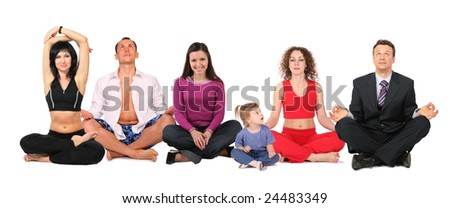 yoga people group with child, collage - stock photo