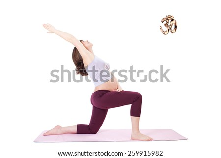 Yoga - Pregnant woman exercise - stock photo