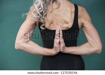 Yoga senior woman. - stock photo