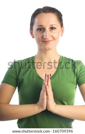 Yoga seria: Namaste mudra gesture isolated on white background - stock photo