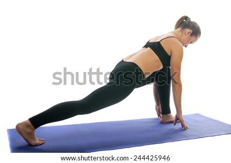Yoga seria: Virabhadrasana I - Warrior Pose  - stock photo
