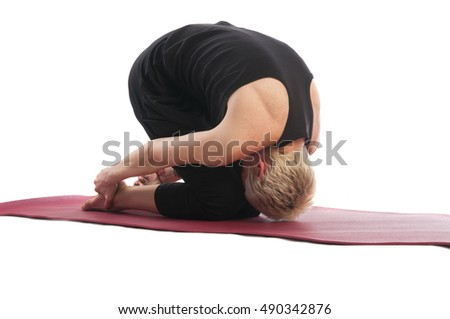 Yoga series: young woman in Shashank or Hare yoga Pose is an asana, isolated on white background