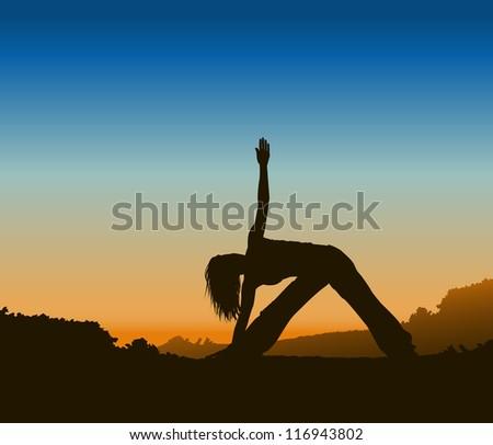 Yoga Silhouette - stock photo