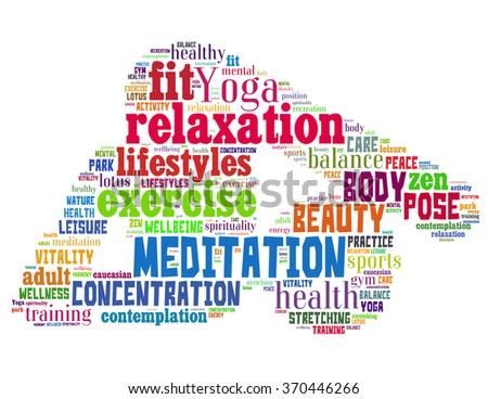 Yoga stretching, word cloud concept on white background.