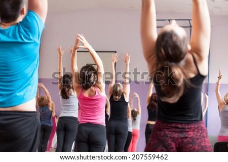 yoga sun salutation - stock photo