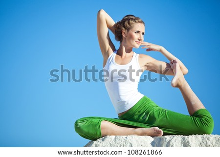 Yoga woman on the nature - stock photo